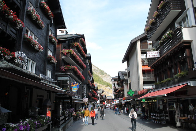 zermatt main street town switzerland