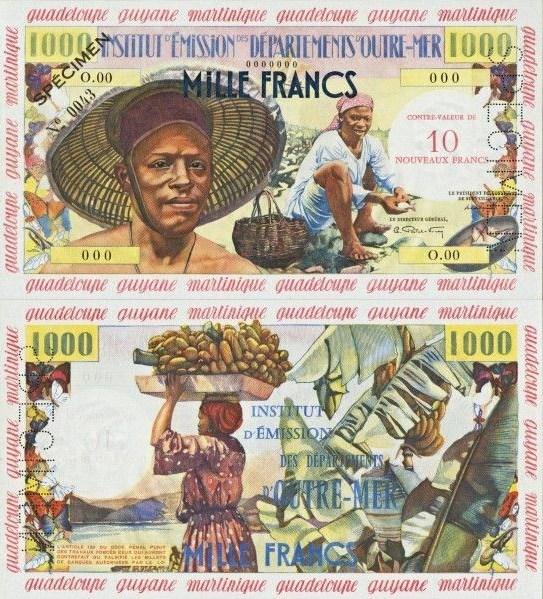 10 Nových frankov Francúzske Antily 1960 P02s SPECIMEN - REPLIKA