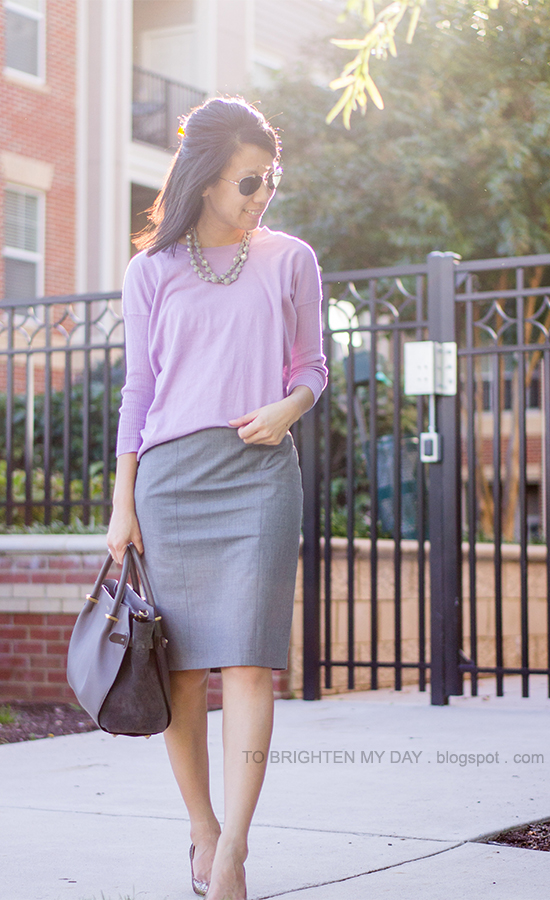 gray silk wrapped necklace, lilac sweater, gray pencil skirt, glitter pumps