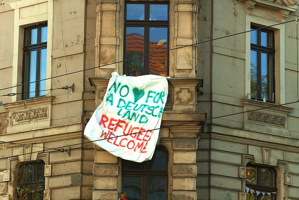 NO LUV FOR A DEUTSCHLAND REFUGEES WELCOME--Leipzig