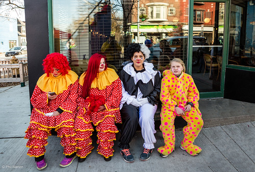 Clowns killing time before the parade | by Phil Marion