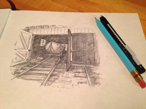 Sketching a pic I took at Sleeping Bear Point Life-Saving Station a few years ago.