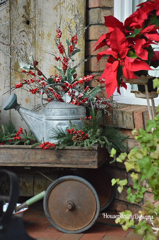 Christmas 2015 Front Porch/Vintage wagon and watering can - Housepitality Designs
