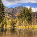 Yosemite Falls from the Merced River-Yosemite National Park CA 0092 by Emory Minnick