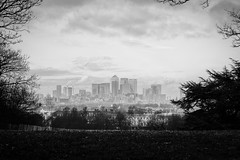Canary Wharf from Greenwich Park; December 2016