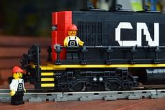 07 - Lego CN Diesel Train Engine In Full High Hood Configuration  - Truck Detail