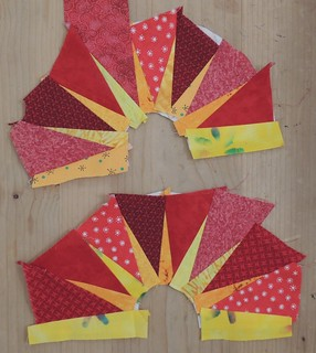 Scrappy Rising Sun blocks - in progress