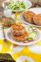 Potato and Pork Patties with Cucumber and Radish S…