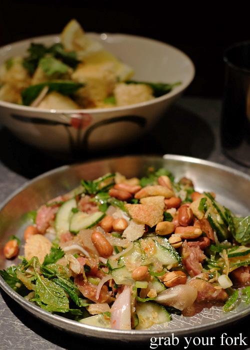Yum naem sour pork and pig ears salad at Chung Tang, Chatswood