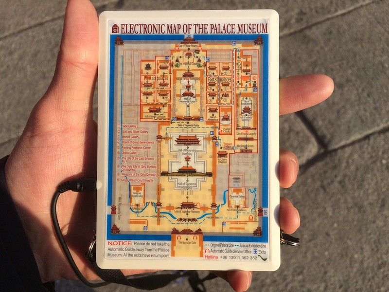 Back of audio guide for Forbidden Palace, with map and lights to indicate where I was.