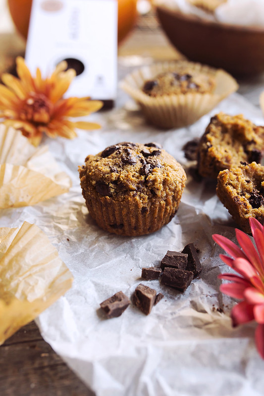 ... the recipe for these tasty, Grain-Free Pumpkin Chocolate Chunk Muffins