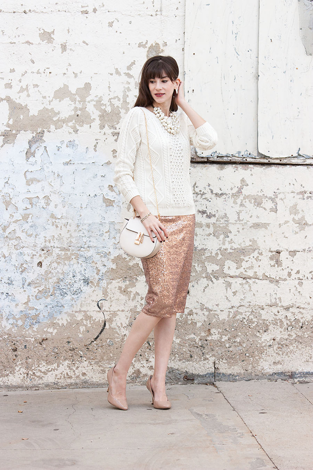Holiday Outfit, Sequin Skirt, Neutral Holiday Outfit
