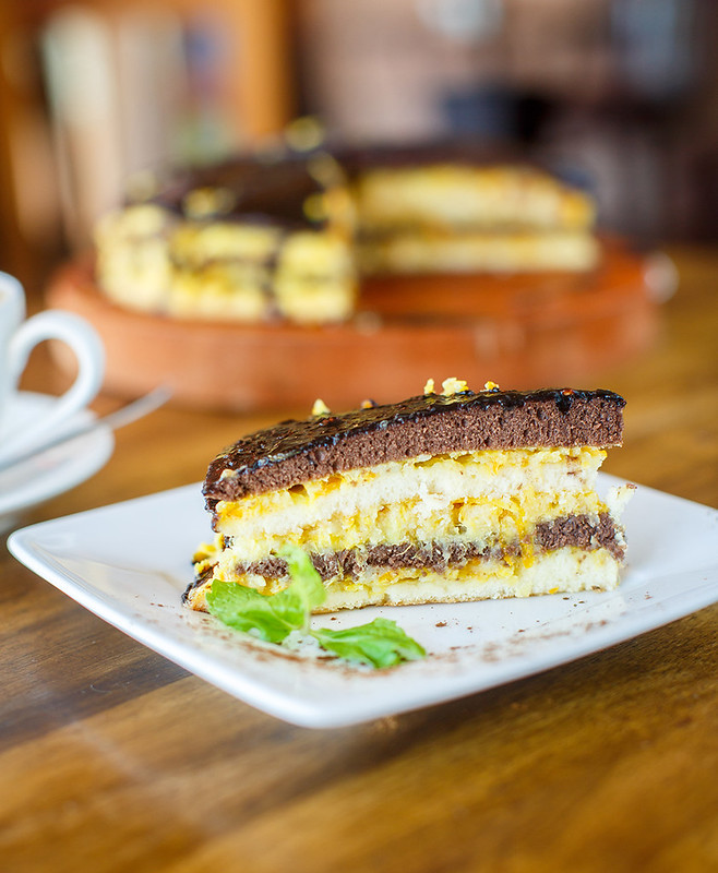 Chocolate orange cake and cappuccino