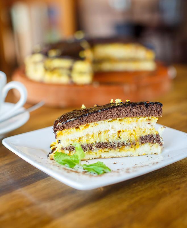 Chocolate orange cake and cappuccino