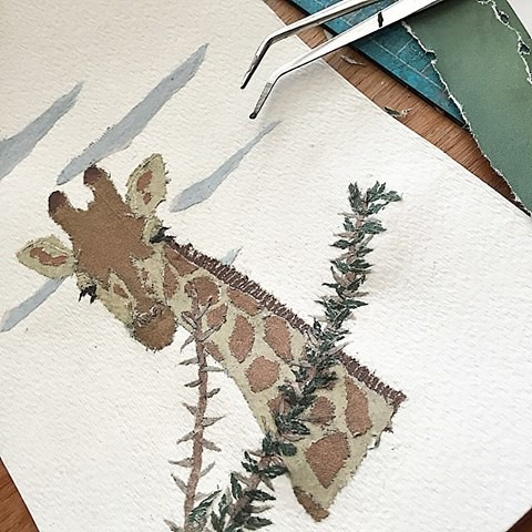 Paper Art Collage - Giraffe