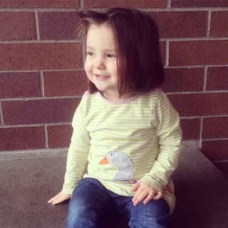 Every time we go to the library, Maggie stops at this bench and asks me to take her picture. #welltrained #latergram