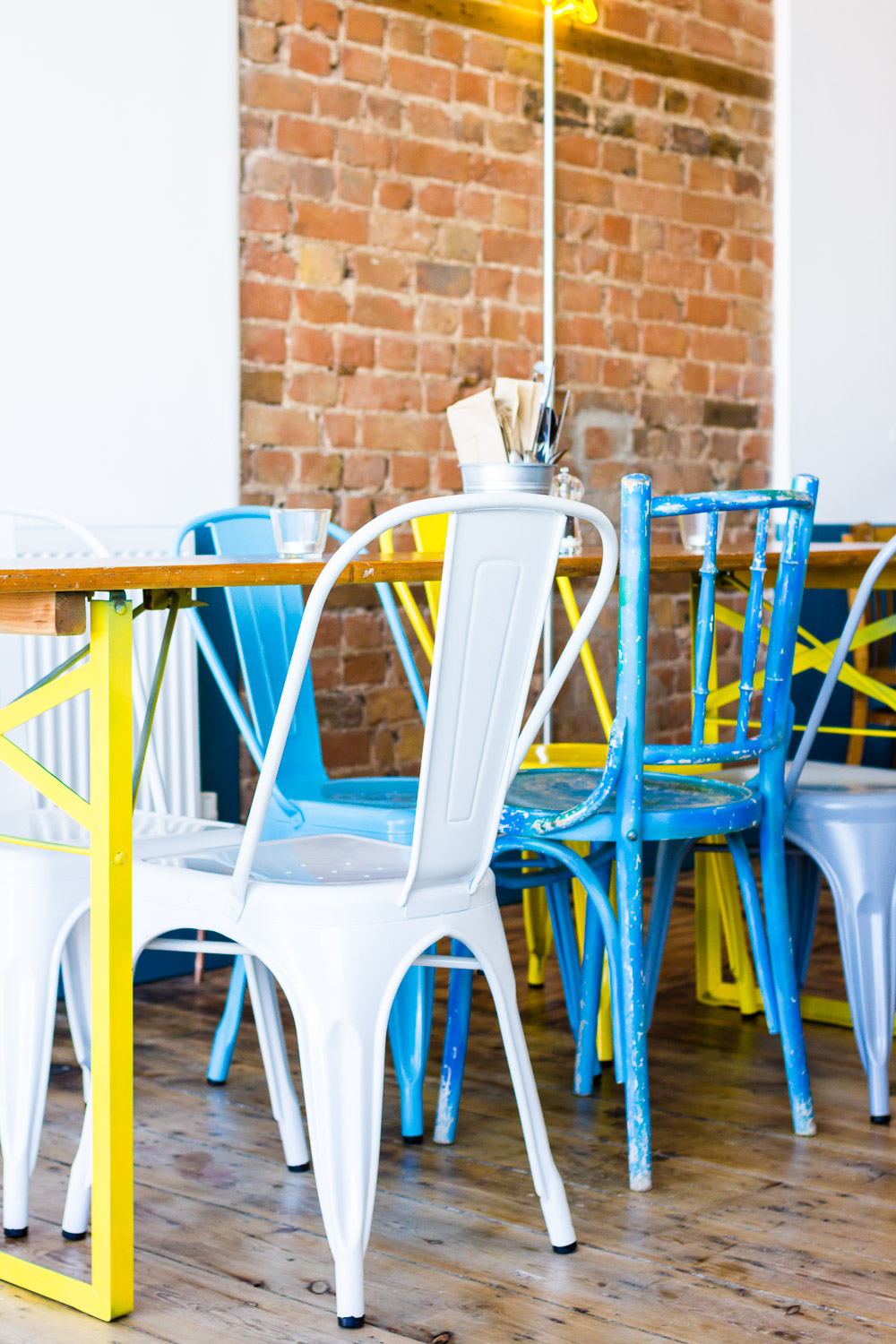cool metal colourful chairs in chicken restaurant roost in margate