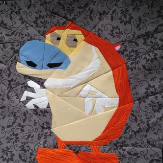 Ren from Ren and Stimpy 10x10 paper pieced quilt block