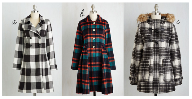 modcloth plaid coat