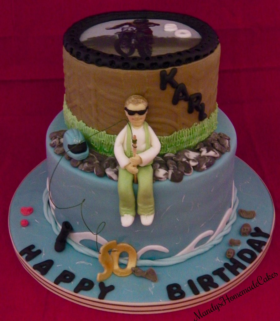 2 Tier Fishing And Motor Cross 50th Birthday Celebration Cake
