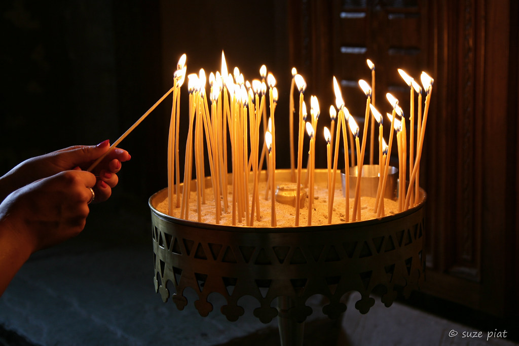 Candles and faith - in a monastery at Meteora, Greece.