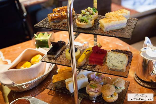 Tower of afternoon tea treats
