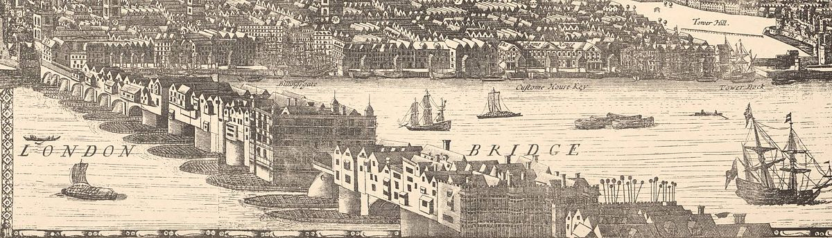 Drawing of London Bridge from a 1682 panorama