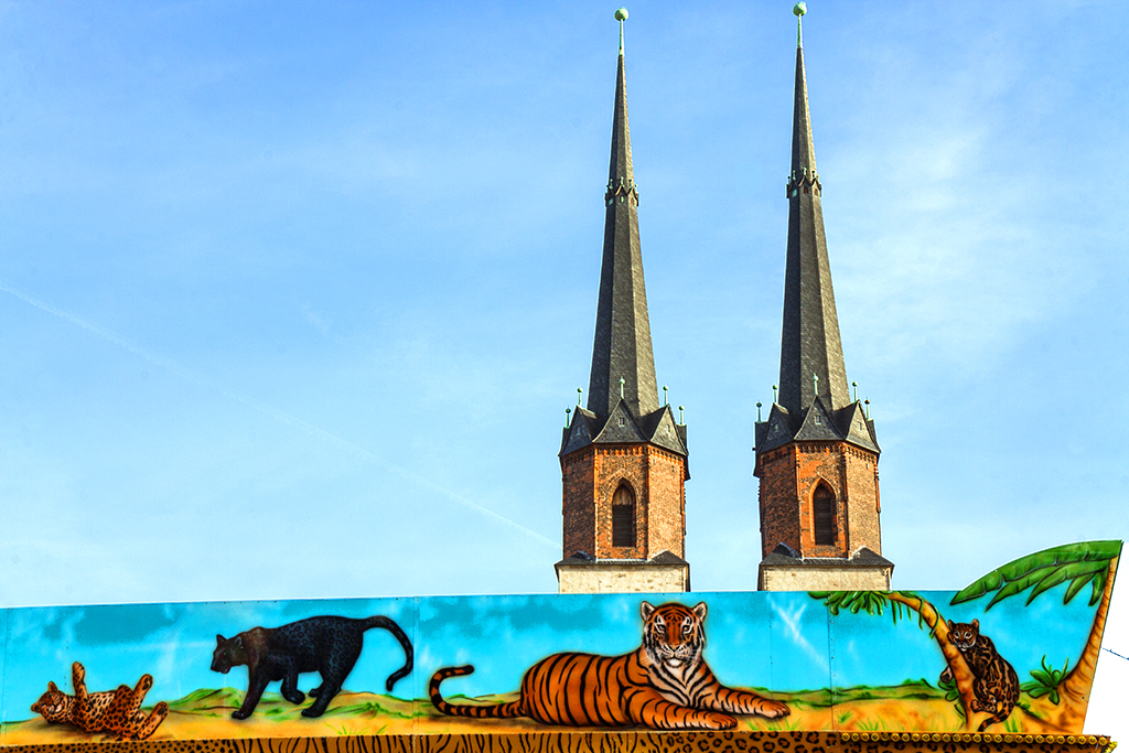Big cats and church steeples--Halle