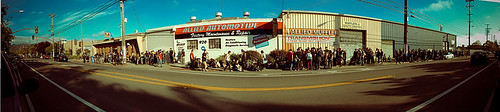 Panoramic Photo of Line for Doors