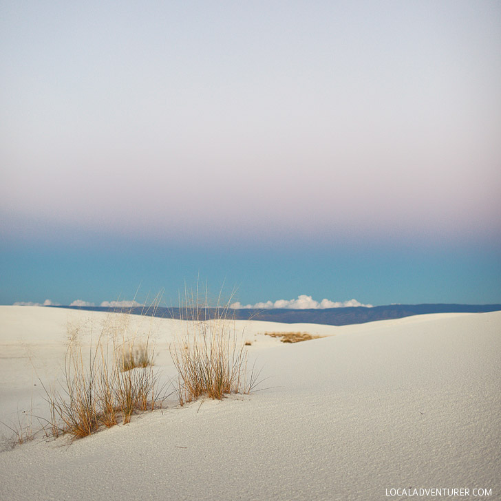 Sunset at White Sands National Monument Las Cruces New Mexico USA.