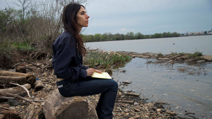 Musician PJ Harvey beside River Anacostia. Anacostia. SE Washington D.C. April 2014