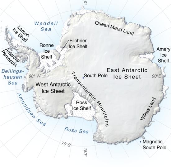 Antarctica, topographic map | GRID-Arendal