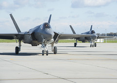 F-35C Lightning II joint strike fighters taxi across the flight line after arriving at Naval Air Station Lemoore, Jan. 25. (U.S. Navy/MC3 Zachary Eshleman)