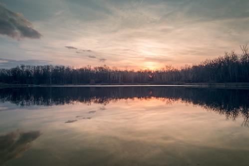 canoneos5dmarkiv kiwassee lake mirror reflection stratford wood sunset atardecer cold february michigan midmichigan midland mi