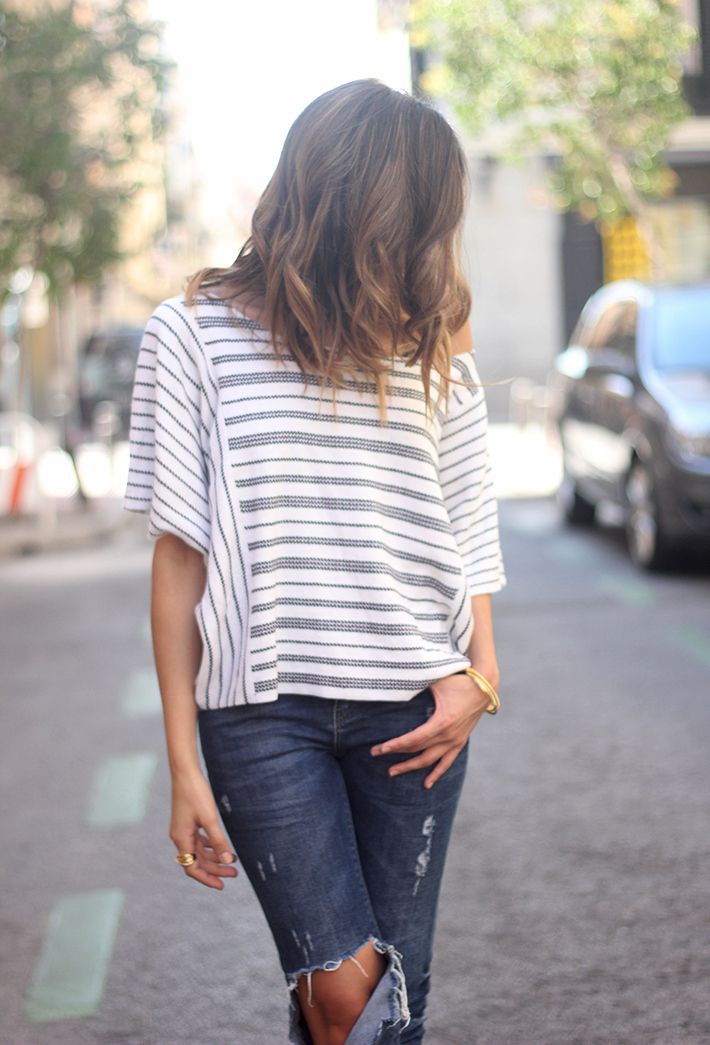 Casual Friday Jeans stripes top summer outfit12