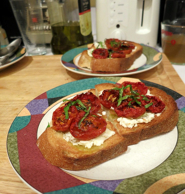 Ricotta cheese and slow-roasted tomato crostini