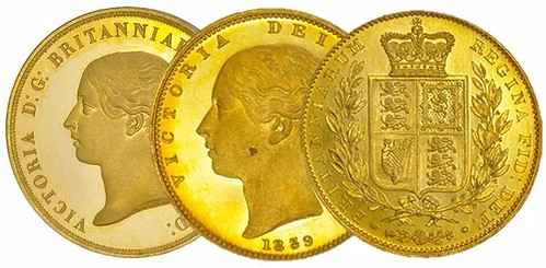 1839 Victoria gold proof coins