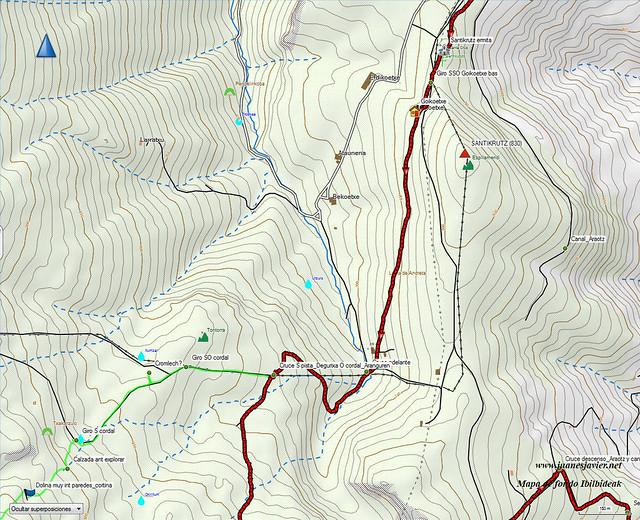 AIZKORRI raizk021 mapa24 detalle IBILBIDEAK Aranzadi valles Degurixa y Araotz