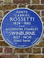 Photo of Dante Gabriel Rossetti and Algernon Charles Swinburne blue plaque