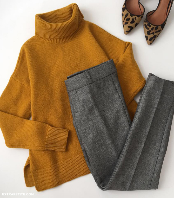 mustard sweater grey pants outfit