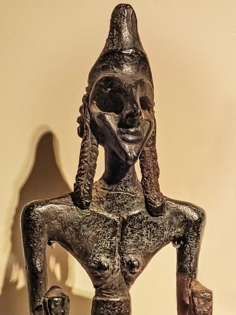 Cast bronze figurine of Anat, sister and consort of Baal, a Canaanite fertility goddess 2nd Millenium BCE Syria Middle Bronze Age