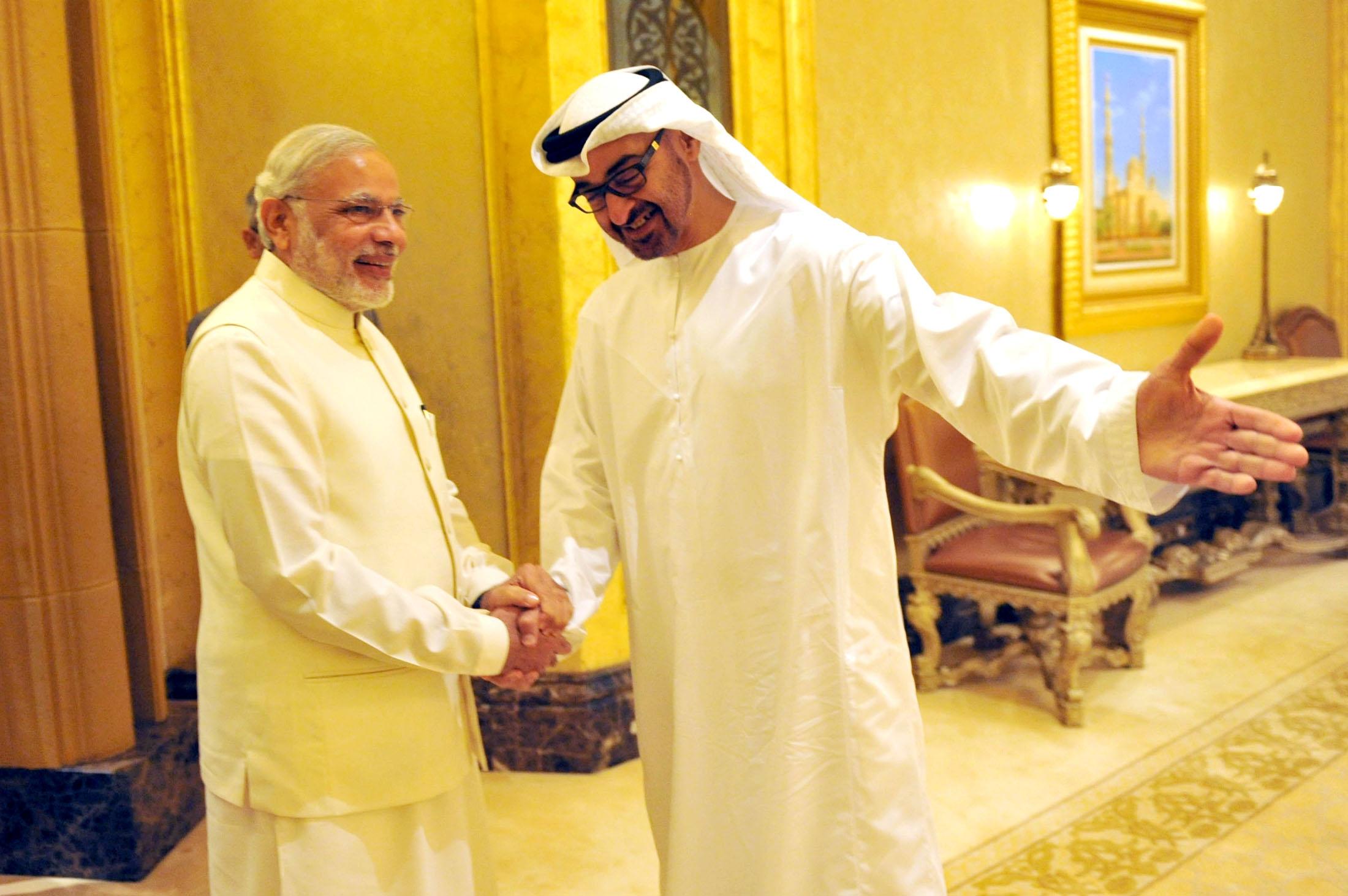 Narendra Modi with Abu Dhabi Crown Prince Shaikh Mohammed bin Zayed in Abu Dhabi in 2015. Photo credit: IANS