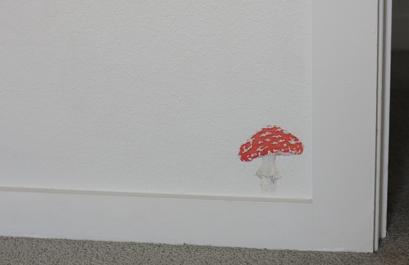 toadstool decal by their door