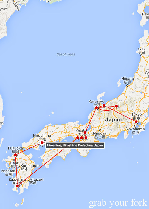 Our Japan travel map tracking our journey from Tokyo to Hiroshima