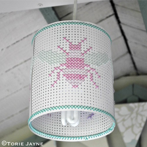Cross stitch lampshade