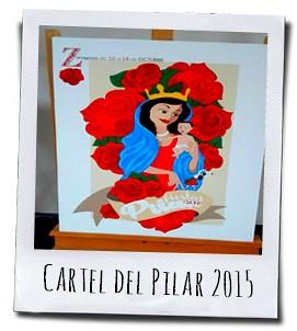 Affiche voor de Fiestas del Pilar ter ere van de vrouwelijke patroonheilige van Zaragoza