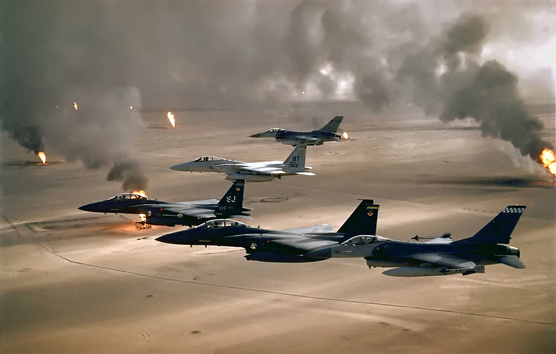 USAF aircraft over Kuwaiti oil fires, set by retreating Iraqi army during Operation Desert Storm