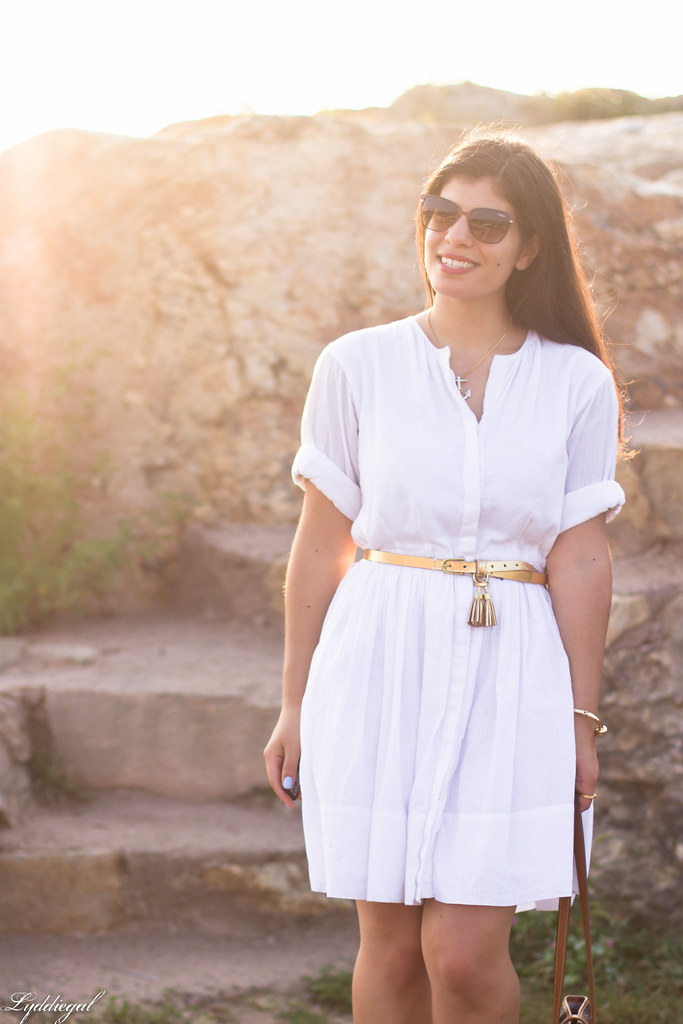 white shirt dress, gold tassel belt, brown sandals-4.jpg