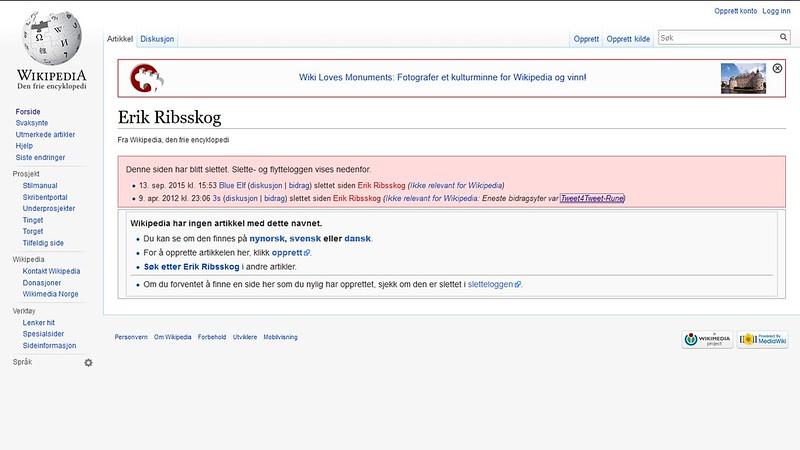 wiki side slettet igjen