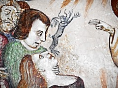 "Exorcism - ""Histories of Saint Anthony"" - fresco by Unknown painter, beginning 15th century - Church of San Francesco at Giffoni Valle Piana / Salerno"